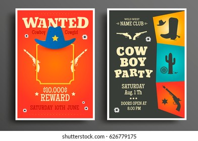 Wanted western poster and Cowboy party flyer or invitation template. Vector illustration