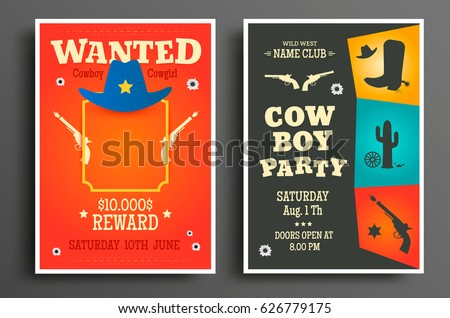 Wanted Western Poster And Cowboy Party Flyer Or Invitation Template Vector Illustration