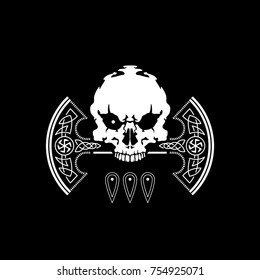 War Ax of Perun and skull. Emblem. Old Slavic god of thunder and lightning. Patron of the fighting squad. Symbols. Slavic mythology. Old Russian paganism. Logo. War for peace. Tattoo
