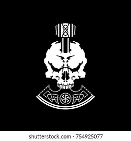 War Ax of Perun and the skull. Emblem. Old Slavic god of thunder and lightning. Symbols. Slavic mythology. Old Russian paganism. Logo. War for peace. Vector illustration. Tattoo