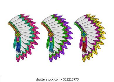 War bonnet set. Indigenous headdresses collection. Vector isolated illustration.