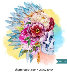 war bonnet, watercolor, skull, boho, Indian, feathers, flowers