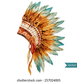 war bonnet,watercolor, boho, Indian, feathers, flowers, headpiece