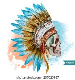 war bonnet,watercolor, skull, boho, Indian, feathers