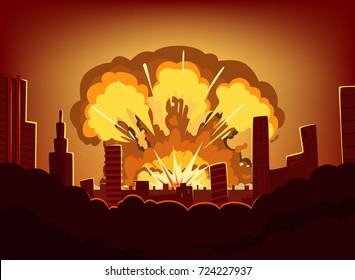 War and damages after big explosion in the city. Monochrome urban landscape with burn sky after atomic bomb. Nuclear radioactive armageddon, vector illustration