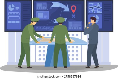 War digital control panel, military operation management senior management military personnel isolated on white, flat vector illustration. Character male officer, command analyst staff.