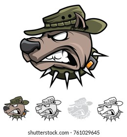 War dog military style vector color drawing multiple versions