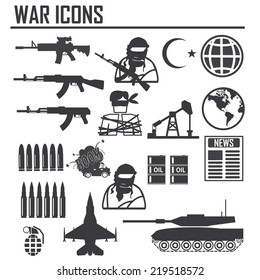 war icon, ISIS and Al Qaeda word vs USA Army , illustration vector sign and symbol