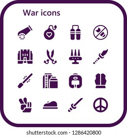 war icon set. 16 filled war icons. Simple modern icons about  - Cannon, Bomb, Nunchaku, Medieval, Sabers, Weapon, Saber, Tank, Boxing helmet, Armour, Peace, Beret, Katana