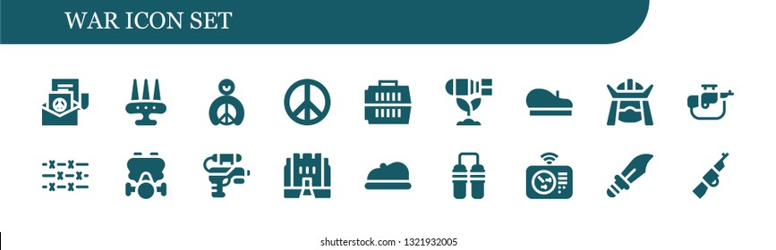 war icon set. 18 filled war icons.  Simple modern icons about  - Peace, Weapon, Carrier, Bomb, Beret, Samurai, Rifle, Barbed wire, Gas mask, Water gun, Medieval, Nunchaku, Radar
