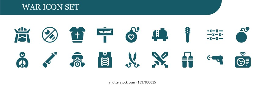 war icon set. 18 filled war icons.  Simple modern icons about  - Samurai, Bomb, Armour, War, Tank, Weapons, Barbed wire, Peace, Spear, Gas mask, Armor, Sabers, Swords, Nunchaku