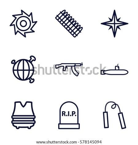 war icon set 9 war outline stock vector royalty free 578145094 shutterstock