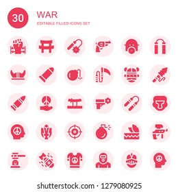 war icon set. Collection of 30 filled war icons included Barbed wire, Katana, Weapons, Pistol, Gas mask, Viking helmet, Bullet, Bomb, Weapon, Viking, Peace, Nunchaku, Fighting game