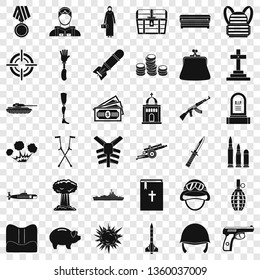 War offence icons set. Simple style of 36 war offence vector icons for web for any design