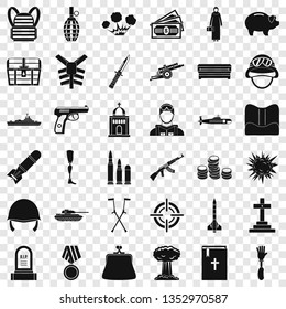 War offense icons set. Simple style of 36 war offense vector icons for web for any design