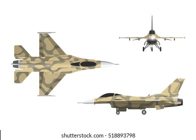 War plane in flat style. Military aircraft in top, side, front view. Vector illustration.