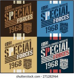 War theme vector graphic set and typography t-shirt design for apparel.