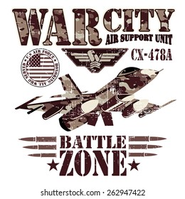 War theme vector graphics and typography t-shirt design for apparel