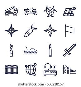 War vector icons. Set of 16 War outline icons such as rocket bomb, dynamite, explosion, hazzard, sword, compass, fence, listening device, flag, truck rocket, weapon truck