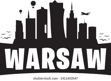 Warasaw Poland. City Skyline. Silhouette Banner City. Design Vector. Famous Monuments.