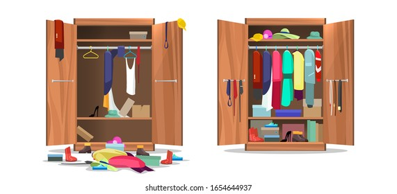Wardrobe before and after organization. Woman clothings and shoes in mess and tidy organizing, opening dress closet with messy and organized clothes cartoon vector illustration