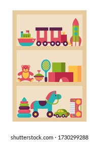 Wardrobe children toy, plaything shelf isolated on white flat vector illustration. Set baby things horse, teddy bear color cube rocket train car and kid boat. Armoire store child plaything.