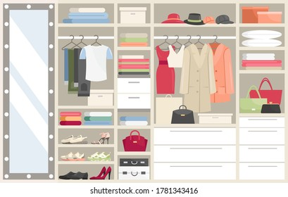 Wardrobe with clothes vector illustration. Cartoon flat opened closet compartments with woman man clothing, hangers with costume or dress, big mirror, shoes. Dressing room organization background