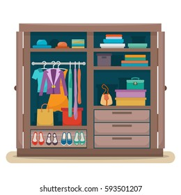 Wardrobe for cloths. Closet with clothes, bags, boxes and shoes. Flat style vector illustration.