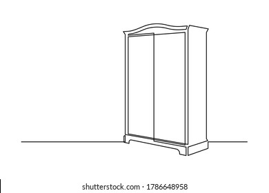 Wardrobe in continuous line art drawing style. Classical style free-standing closet for storing clothes minimalist black linear sketch isolated on white background. Vector illustration