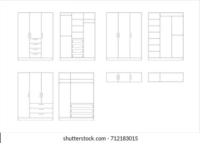 Wardrobe design collection isolated on white background. Vector. Furniture design. Cupboard. Home Interior Design Software Programs. Project management. Lines, projection, construction.