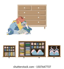 Wardrobe drawer organizer. Wardrobe inner space. Clothes tidying up concept. Vector illustration isolated on white.