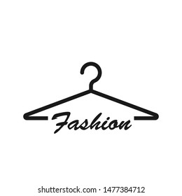 Wardrobe hanger logotype. Fashion, dry cleaning, clothing store vector icon.