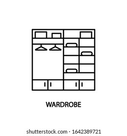 Wardrobe line icon. Concept for web banners and printed materials Walk-in closet