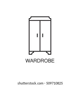 Wardrobe line icon. High quality pictogram of wardrobe for home's interior. Outline vector symbol for design website or mobile app. Thin line sign of mirror for logo, visit card, etc.