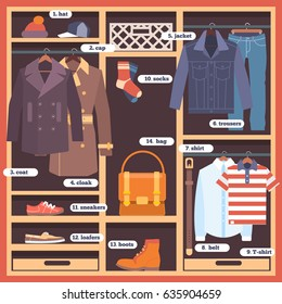 Wardrobe room full of clothes. Flat style vector illustration