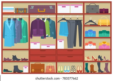 Wardrobe room full of clothes.Flat style vector illustration