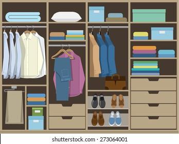 Wardrobe room full of men's cloths.