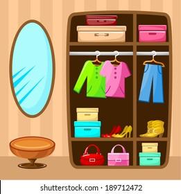 Wardrobe room. Furniture. vector