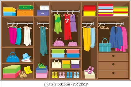 Wardrobe room. Furniture. vector, no gradient, color full