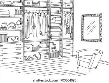 Wardrobe room graphic black white interior sketch illustration vector