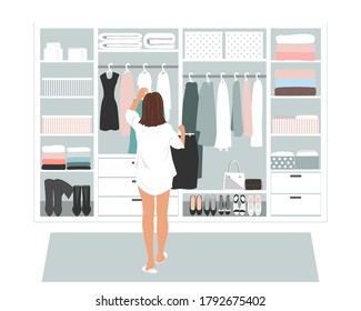 Wardrobe storage room and young elegant business woman in front of open closet full of elegant dresses. Everyday choice what to wear into the office.