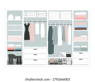 Wardrobe storage system in a modern style. Dressing room interior element, flat vector illustration. Closet with woman closing, pastel palette
