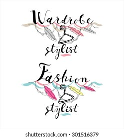 Wardrobe Stylist vector logo set. Calligraphy hand-written modern Fashion stylist Web site banner.