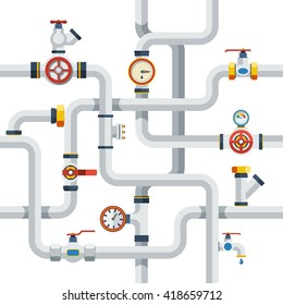 Ware Pipes System Concept Flat Vector Illustration
