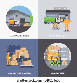 Warehouse 2x2 flat design concept with storage building and workers loading boxes by fork lifts vector illustration