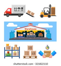 Warehouse and all the stuff:  warehouse building, truck, loader with weight, shelves with boxes. Flat vector illustration set.