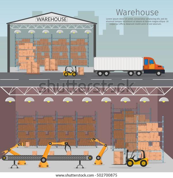 Warehouse Automation Robotics Assembly Line Interior Stock