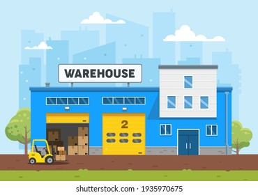The warehouse building is blue. The loader carries the goods to the warehouse. Logistics and delivery. Flat vector illustration.