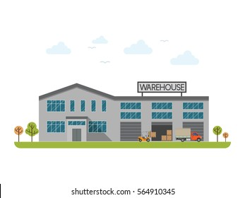 Warehouse building flat icon with transportation vehicles