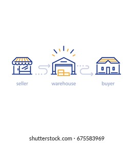 Warehouse building with forklift truck, storage services, distribution center, vector line icons